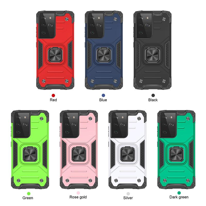 Shockproof Armor Kickstand Phone Cases For Samsung S10 S20FE S30 Ultra Note 20 10 Plus Cover Anti-Drop Magnetic Car Holder Ring Shell