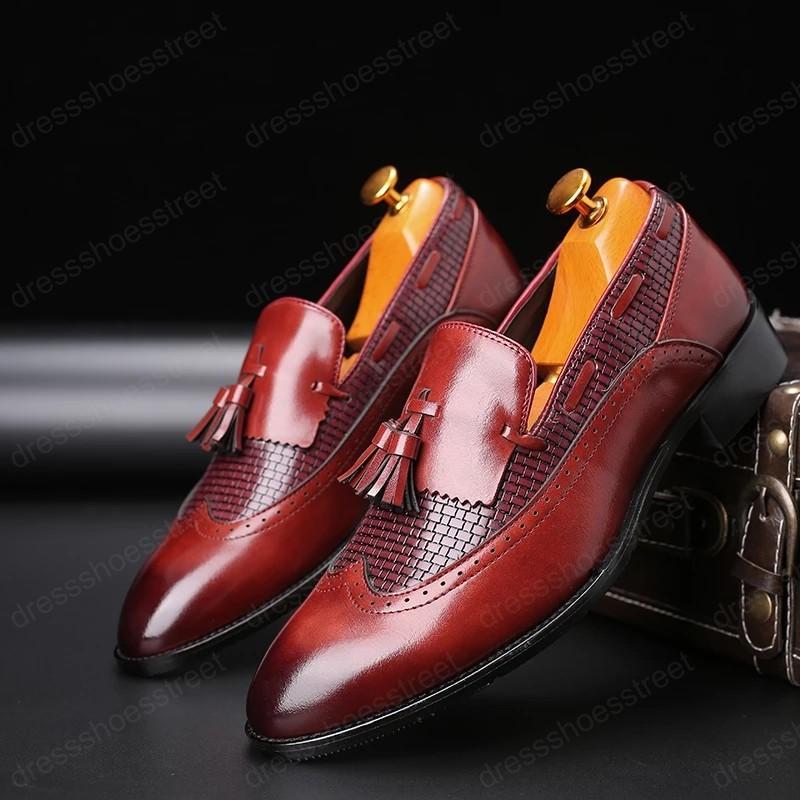 Роскошные платье обувь мужчины социальная обувь вечеринка элегантная натуральная кожаная обувь итальянская формальная обувь большие размеры красный коричневый черный