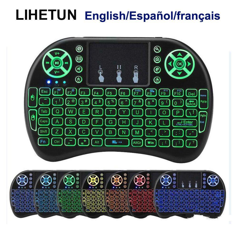 I8 اللاسلكية البسيطة لوحة المفاتيح 7 الخلفية 2.4 جيجا هرتز يطير الهواء الماوس الليثيوم أيون بطارية التحكم عن الإنجليزية الإسبانية الفرنسية لالروبوت التلفزيون مربع الكمبيوتر
