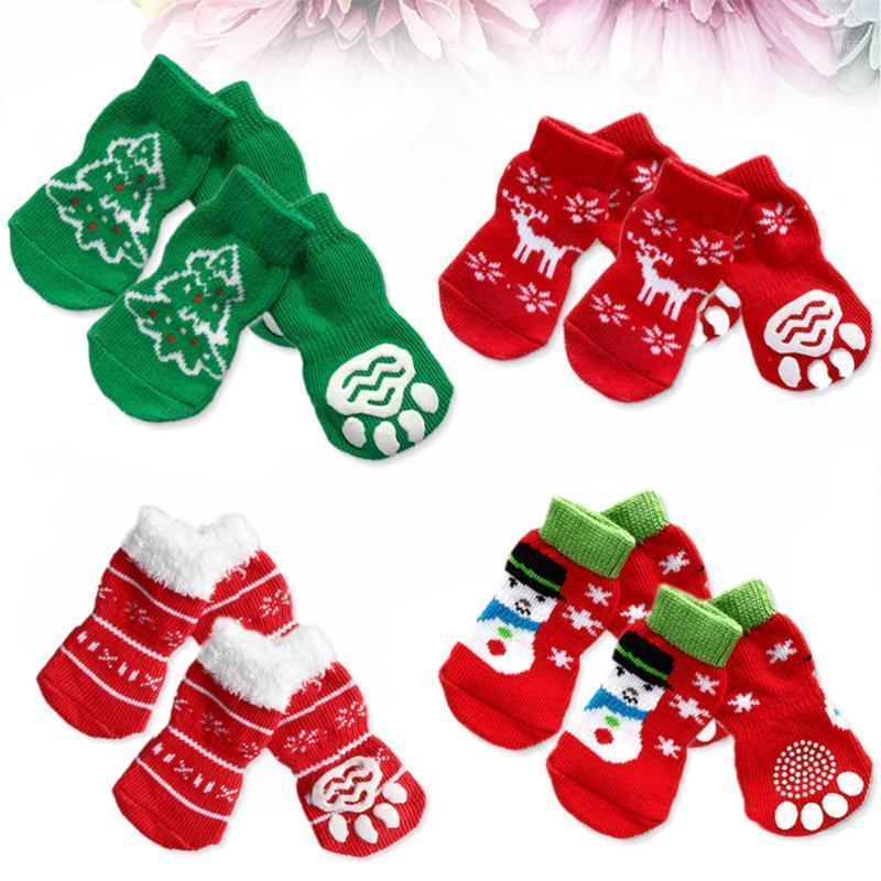 4 Sätze von Haustierhundwelpen-Katzen-rutschfeste Baumwollsocken mit Weihnachtsmustergröße S1