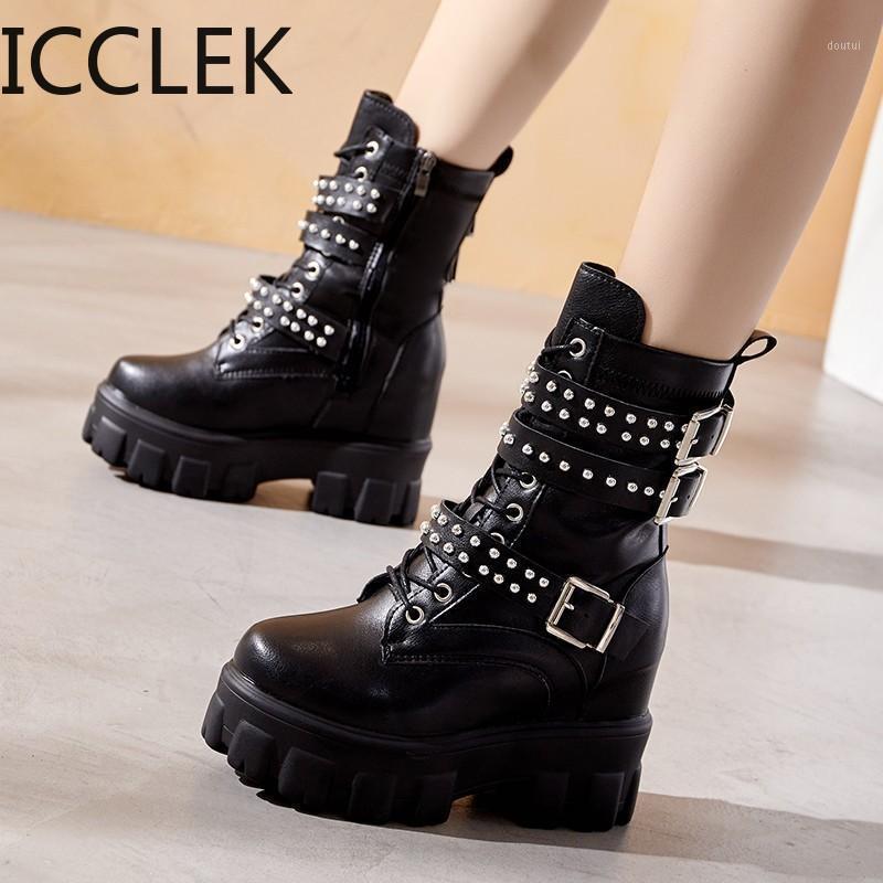 2020 заклепки на молнии заклепки сапоги женские черные гот ботинки лодыжки для женщин пряжка ремешка квадратная каблука 1