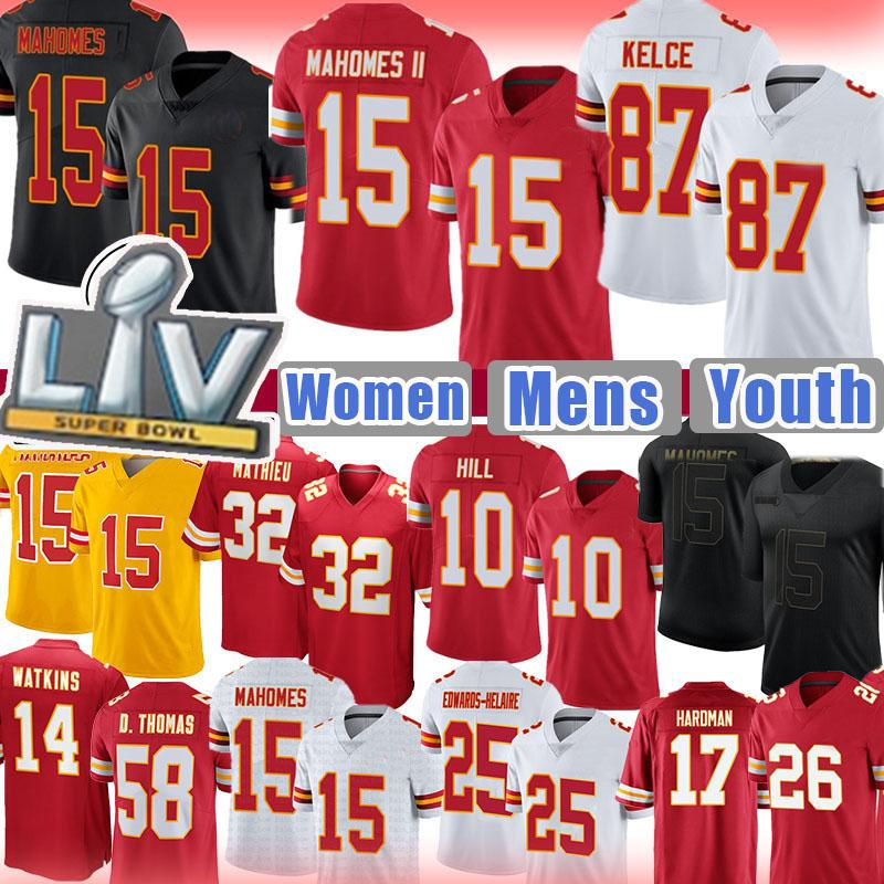 15 Patrick Mahomes Homens Mulheres Juventude Travis Kelce Tyreek Hill KansasCidadeJersey chefe Jersey Tyrann Mathieu Clyde Edwards-Hiaire