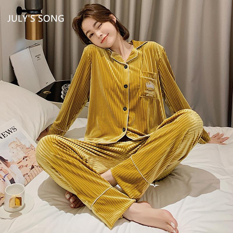 Canción de julio Mujer Pijamas Pijamas Set 2 Pieces Sólido Color Terciopelo Soldadura Manga Larga Pantalón Rayado Casual Winterwearwear