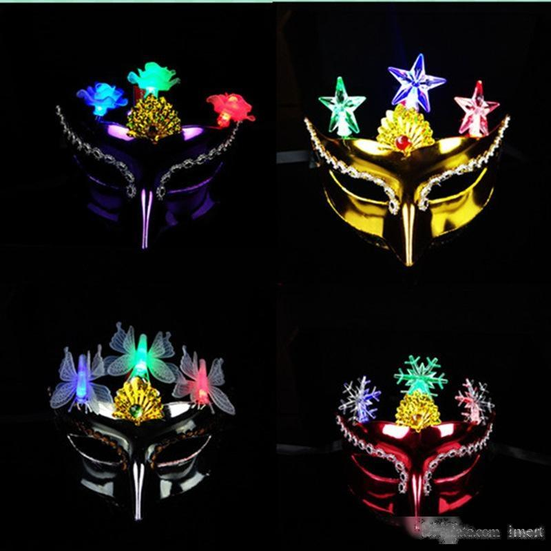 Colorful Party Princess Luminous Mask Half Face Mask Halloween Masquerade Mask Female Adult Cosplay LED Masks