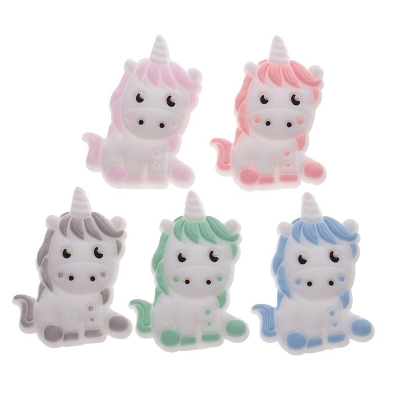 Silicone Beads 50pcs Unicorn Food Grade Cartoon Animal Pearl Baby Teether Pacifier Clip Chain Teeth Jewelry Accessories Toys DIY 201123