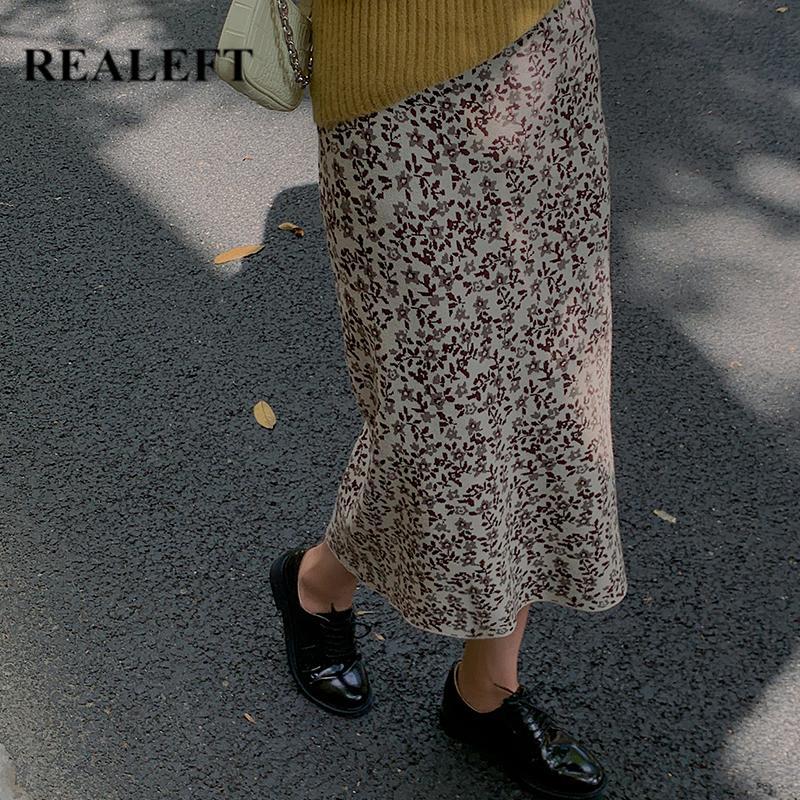 ReaLeft Floral Impressão de malha Envoltório de malha 2020 New Outono inverno alta cintura elegante bainha sexy lápis saias feminina coreana f1214