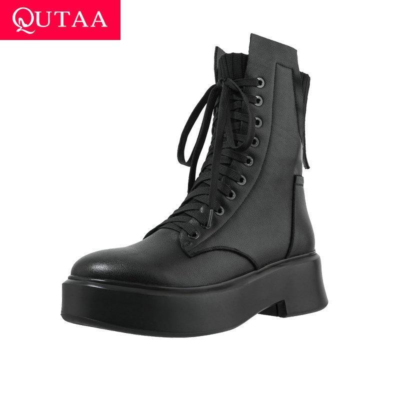 Boots Qutaa 2021 couro genuíno + couro PU calcanhar quadrado outono preto inverno tornozelo de alta moda mulheres sapatos tamanho 34-39