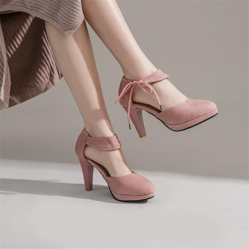 PXELENA NUEVO 2020 Primavera Celebridad Correa de tobillo Zapatos Chunky Tacones altos Bombas Sweet Mary Jane Vestido Oficina Zapatos Mujer Tallas grandes