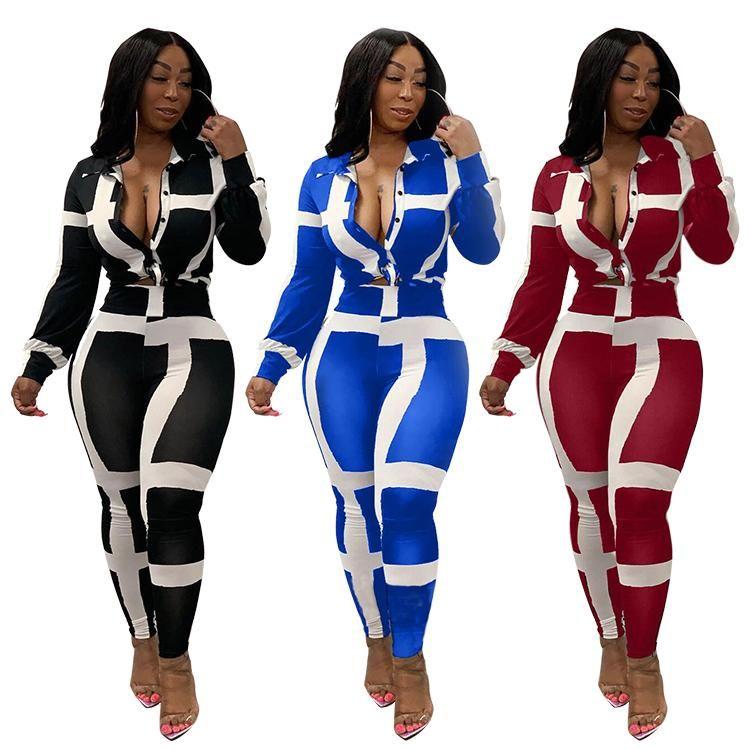 المرأة رياضية ملابس البائع 9081429 تصميم طويلة الأكمام قميص بلوزة الترفيه مخطط الخريف سروال رصاص المرأة اثنين من قطعة مجموعة