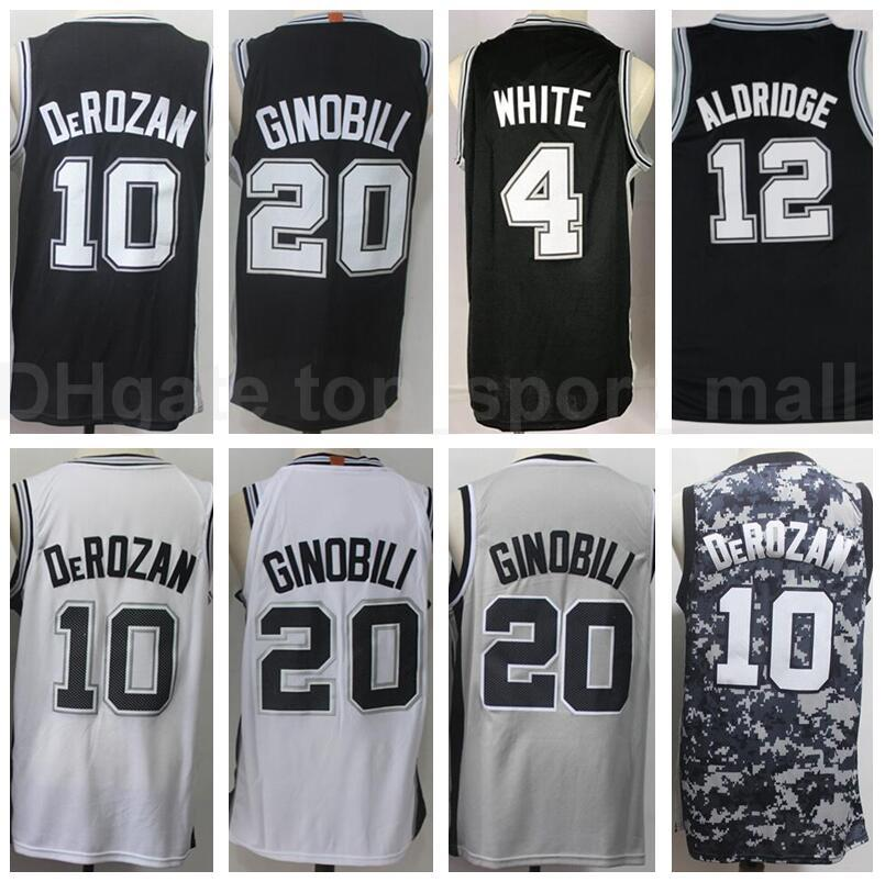 Hombres Baloncesto Demar Derozan Jersey 10 Lamarcus Aldridge 12 Manu GinObili 20 Derrick White 4 Todo el equipo cosido negro blanco gris camo