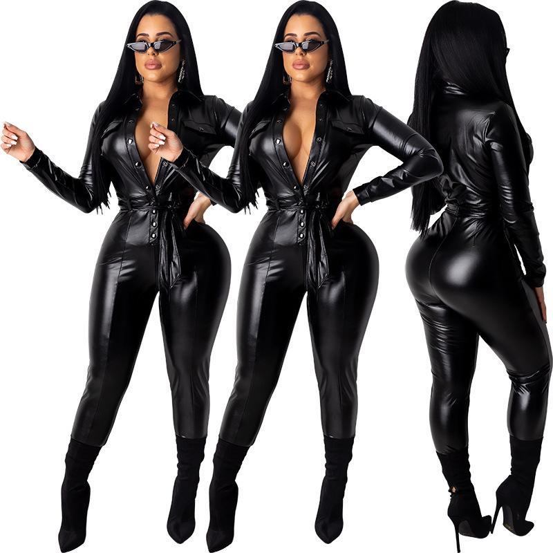 FnOce 2020 hiver Nouvelle discothèque sexy féminine Mode Faux Solide Faux En Cuir manches longues V-coucoules Coulée en V Slim Jumpsuits serrés