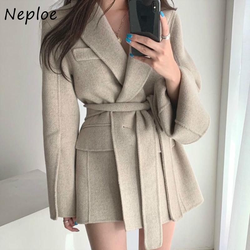 Neoe Color Sólido One-Button Tops Fake Pockets Chic Split Mangas Largas Straight Femme Chaqueta Slim Slim Cintura Abrigo Mujeres