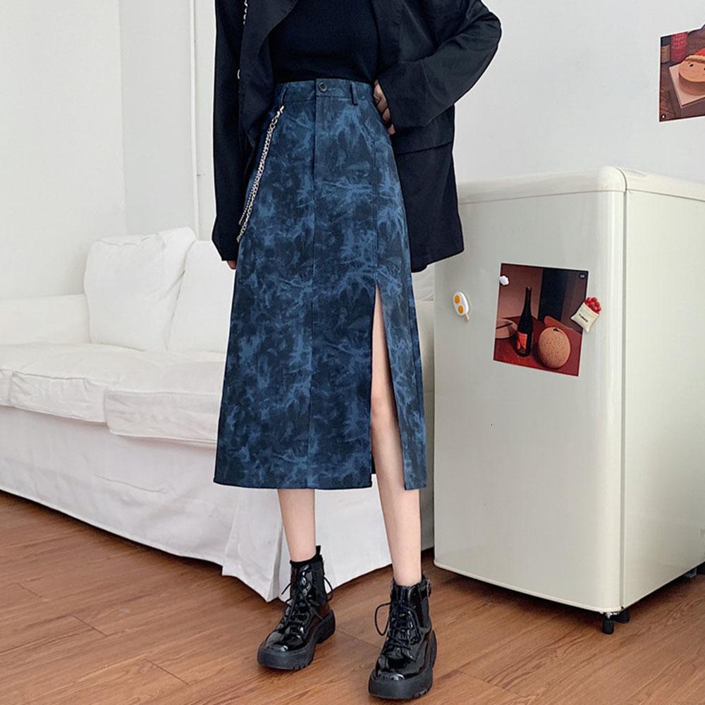 2021 New Street Skirt Autumn Winter Trendy Hipster Designer Hot Sale Retro High Waist Thin Tie Dye Split IW49