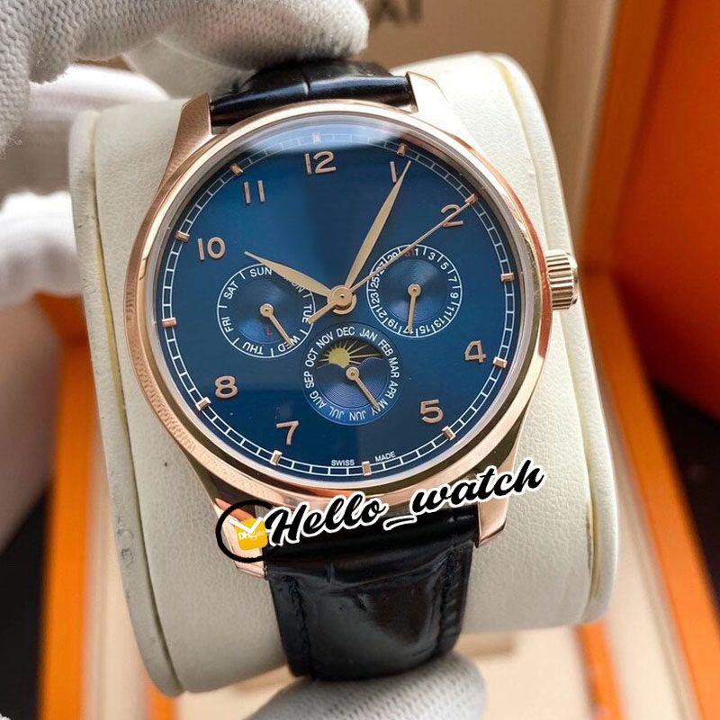 Novo Calendário Perpétuo 42mm IW344205 Mens Automático Relógio Azul Dial Moon Fase Rosa Capa de Ouro Couro Azul Strap Watches Hwiw Hello_Watch