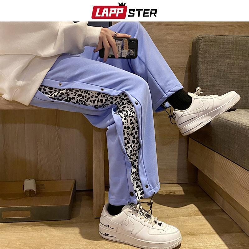 Bouton de lappster Hommes Bouton Leopard Joggers Pantalons 2020 Mens Japonais Streetwear Hip Hop Hop Hoppants Homme Coréen Fashions Pantalons de piste