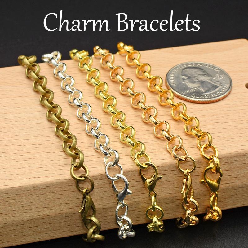 50 stücke - Charm Armband Kettenschüttler, versilbert / Gold Kette Armband für Schmuckherstellung, Charme Armbänder für Frauen oder Mädchen Y1119