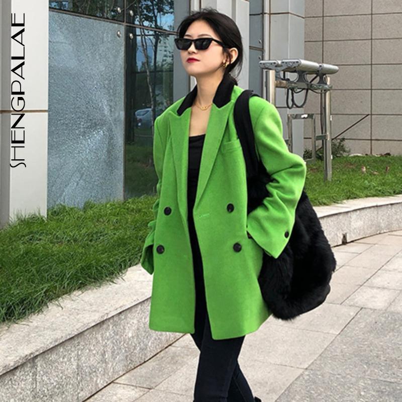 Shengpalae Bahar 2021 Yeni kadın Blazer Moda Yeşil Siyah Yaka Yün Takım Elbise Ceket Gevşek Rahat Kadın Yün Suit Coat 5A760