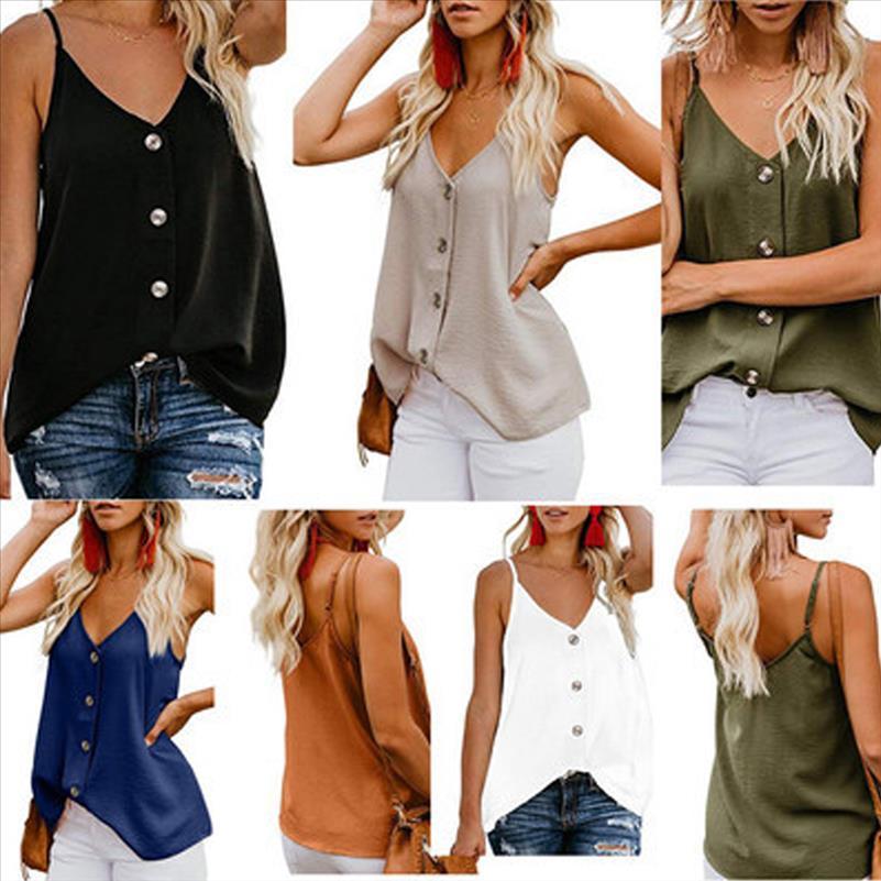 Sexy spaghtti estate della cinghia Camicetta delle donne 2020 nuove magliette casual maniche Bottoni regolabile con scollo a V chiffon signore camicette