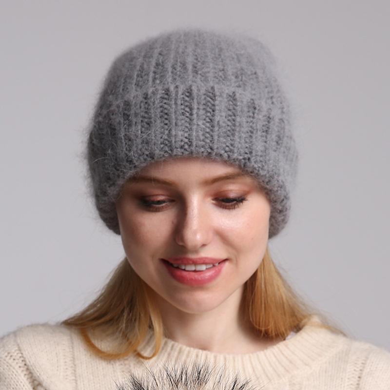 70٪ أنغولا الفراء محبوك قبعة إمرأة skullies beanies لينة الدافئة الشتاء قبعة للنساء فتاة الإناث التزلج كاب المرأة القبعات