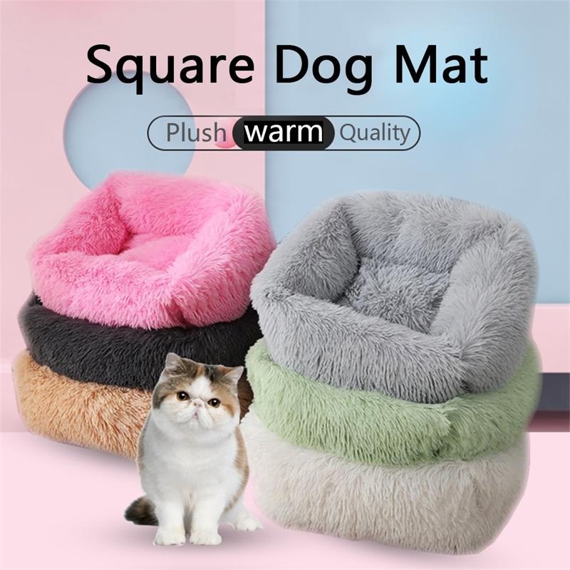 Quarto pelúcia cão cama casa cão esteira inverno quente cães de dormir cachorrinho ninho macio longo pelúcia cão almofada de estimação portátil suprimentos 20115