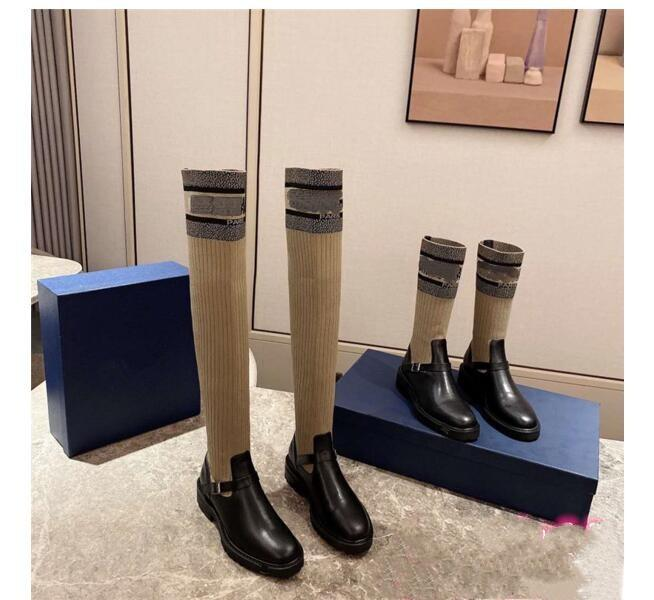 Newest Fashion Autumn Winter Shoes Woman Leather Knee High Knight Boots Designer Metal Buckle Round Heels Slip On Boots D-MAJOR BOOT 01