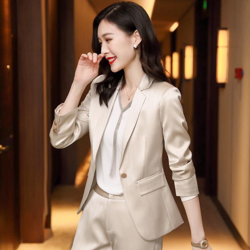 Женские две штуки брюки элегантные осенние абрикосовые костюмы для женщин 2 набор формальный блейзер полосатый куртка брюки офис леди плюс размер S-4XL