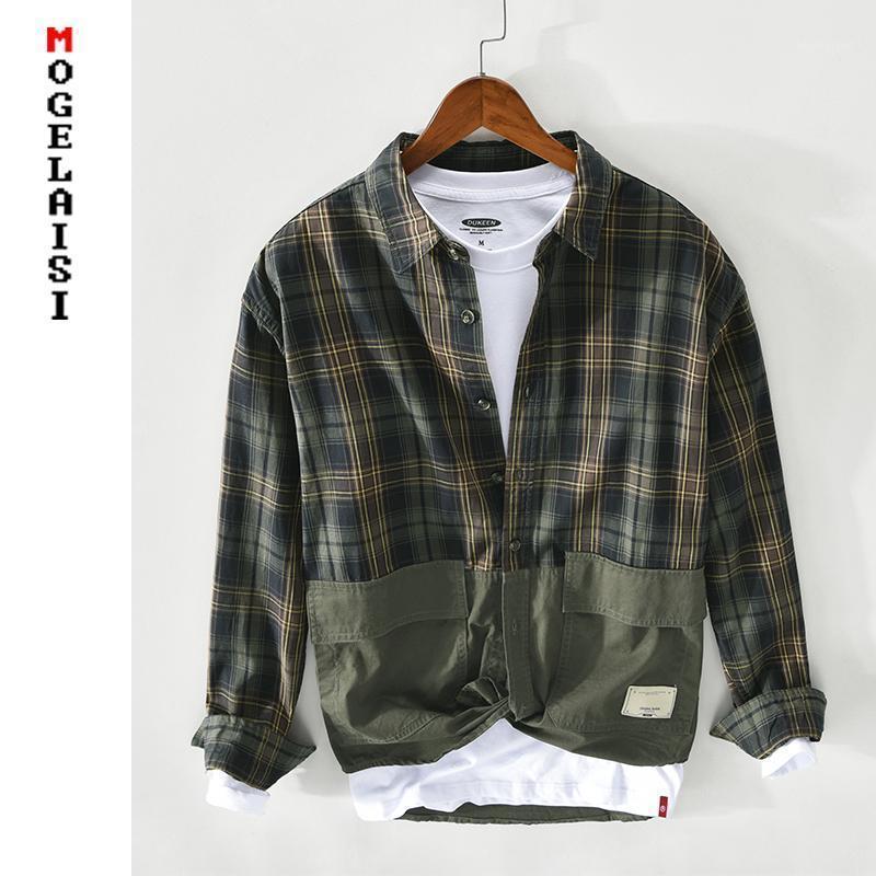 Nuovo 2021 Shirt casual da primavera Plaid Uomo 100% cotone manica lunga doppia grande tasche grandi Top per uomo moda slim fit shirt Z1361