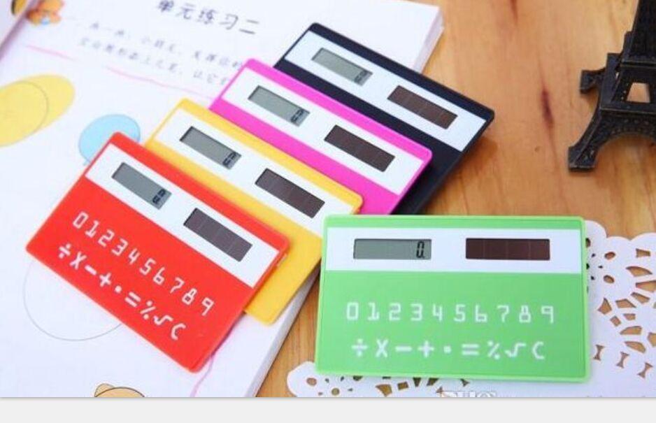 Colorful Small Slim Pocket Calculator Stationery Card Portable Calculator Mini Handheld Ultra-thin Card Calculator Solar Power
