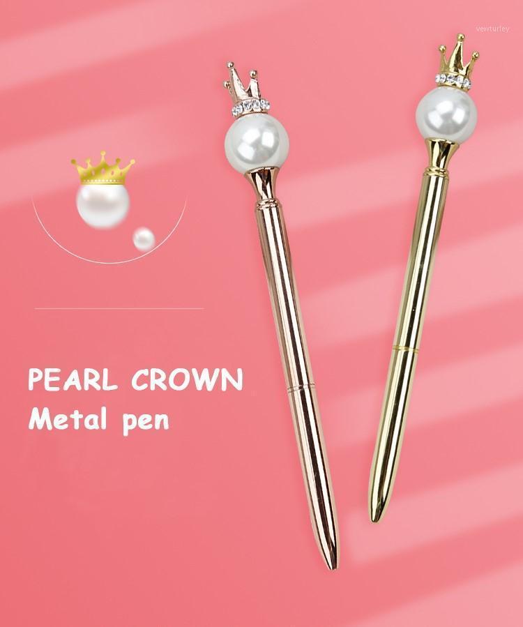 Personalizado Pearl Crown Pen Ballpoint Caneta Presente Esferográfica Casamento Aniversário Presente Gravado Nome Novidade Pens1