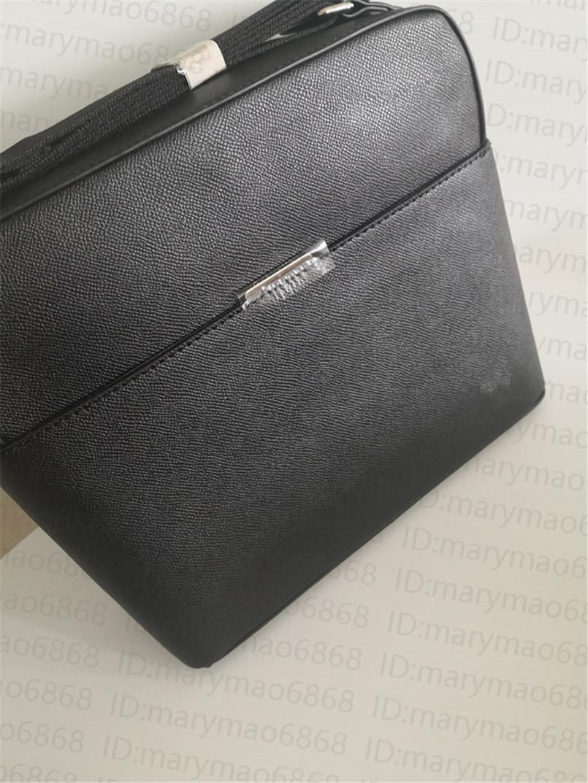 Classic Men Designer Messenger Bag Bolsa de hombro Maletín Moda de alta calidad Crossbody Outdoor Busine Cuero Bolso de gran capacidad Negro