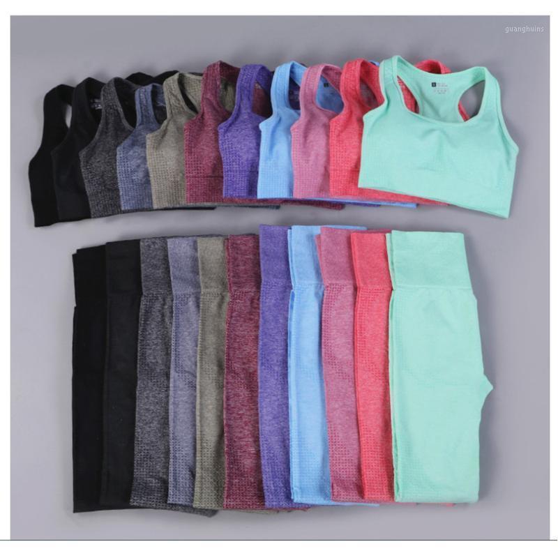 Femmes d'été Sans couture Yoga Sports Sports Sport Bra + Taille haute Fitness Shorts de gymnase Ensemble de vêtements de sport de sport