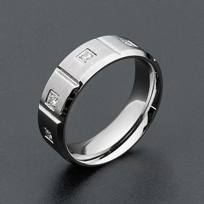 Bague de mariage en acier inoxydable de mode 8mm avec zircone cubique designs de luxe de luxe anneaux de doigts pour femmes bijoux de fête 2020 nouveau y1209