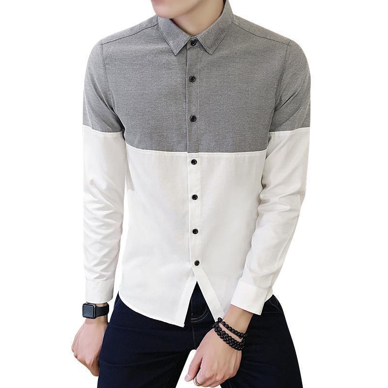 Point Collar Color Block Oxford Camicia da uomo Single Breasted Manica Lunga Autunno Autunno Manica lunga Camicia da uomo Coreano Vestiti Vestiti Streetwear 4xl C1211