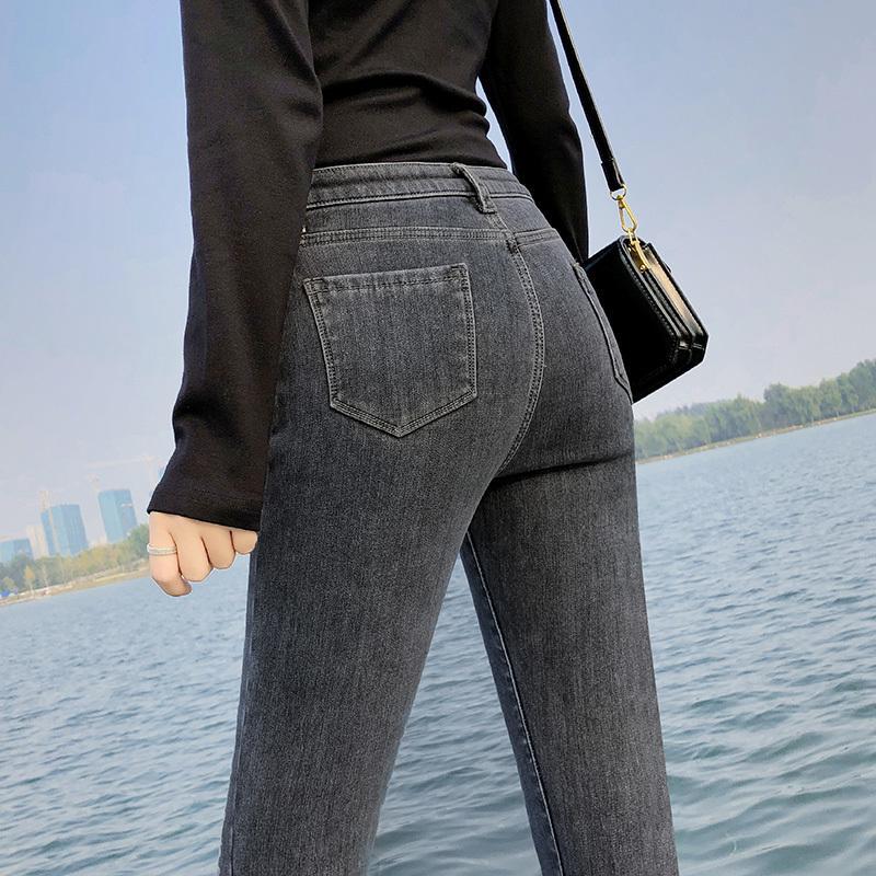 2021 Femmes chaudes Stretch Taille haute Wrad Wram Peluche Retro Lady Plus Taille Pantalon Push Up Leggings minces Jeans Pantalon de crayon maigre