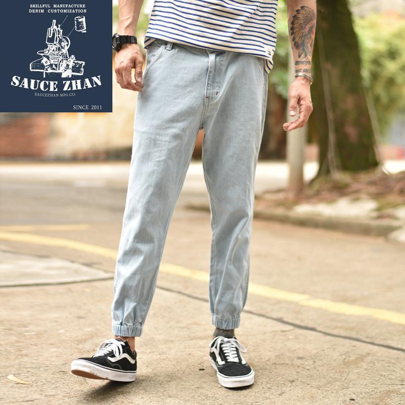 Мужские джинсы соусежан мужской джинсовой джинсовой джинсовой ткани разорвал для мужчин тощий огорченный стройный фитмент