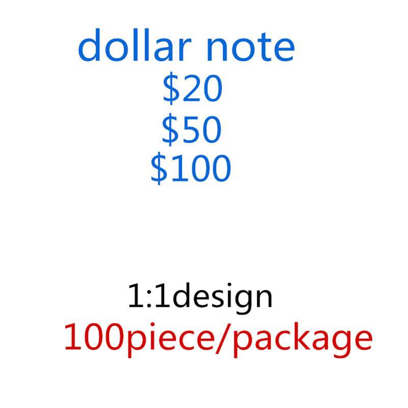 2020 Venta caliente falsificada 20/50/100 Dollar Banknote Prop Toy Falfeit Dollar Gun Billete Barra Atmósfera Etapa Fiesta de cumpleaños