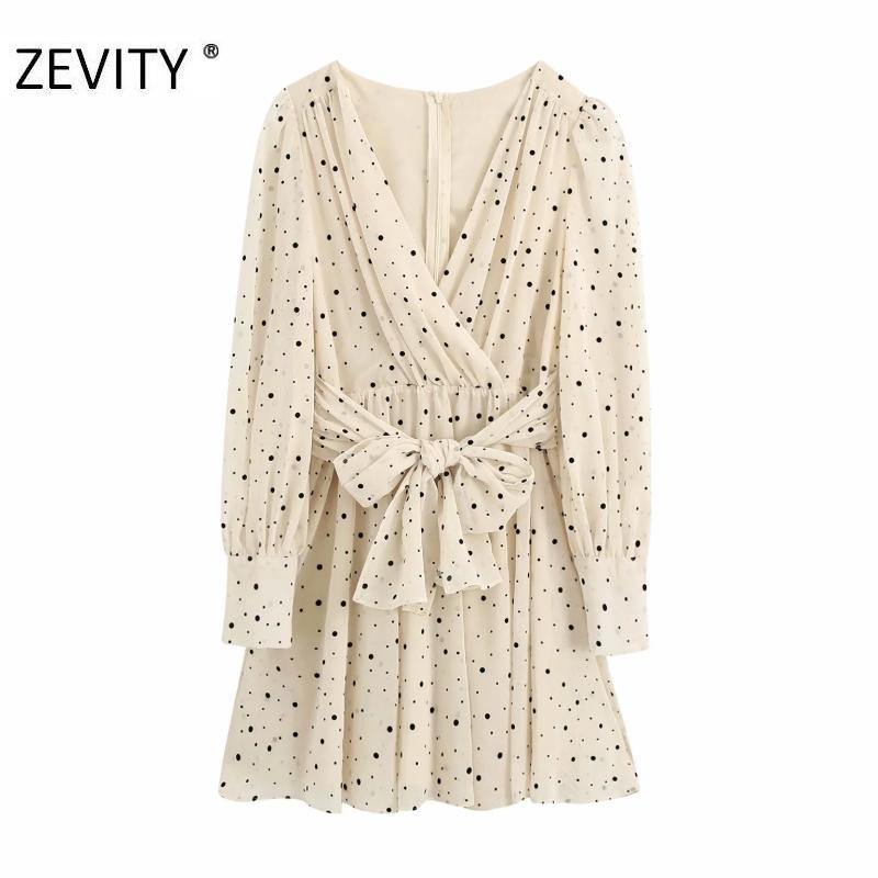 Zevity Women Cross V Cuello en V Polka Dot Vestido Estampado de lazo Bow Sashes Mini Vestido Chic Pleats Femeninos Puff Manga Casual Vestidos DS4393