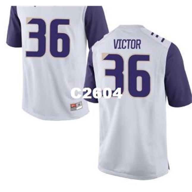 Seltene echte 2604 Washington Huskies Azeem Victor # 36 schwarz weiß oder lila College Football Jersey oder benutzerdefinierte Name oder Nummer Jersey