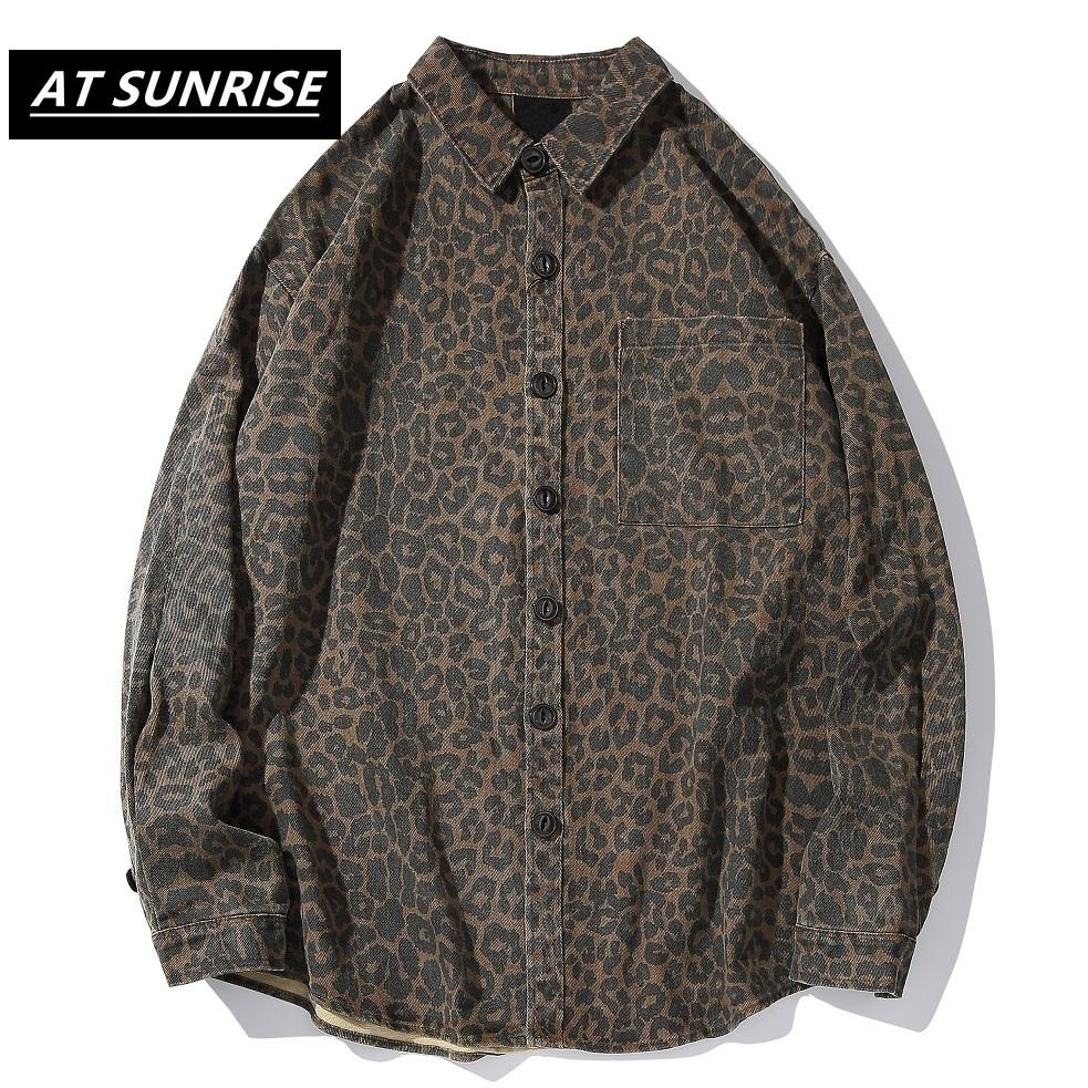 Leopard Männer Hemden Mode Harajuku Tops Streetwear Hip Hop Männliche Freizeit Baumwolle Langarm Hemden Hemden Oberteile Männer Hemd Langarm C1211