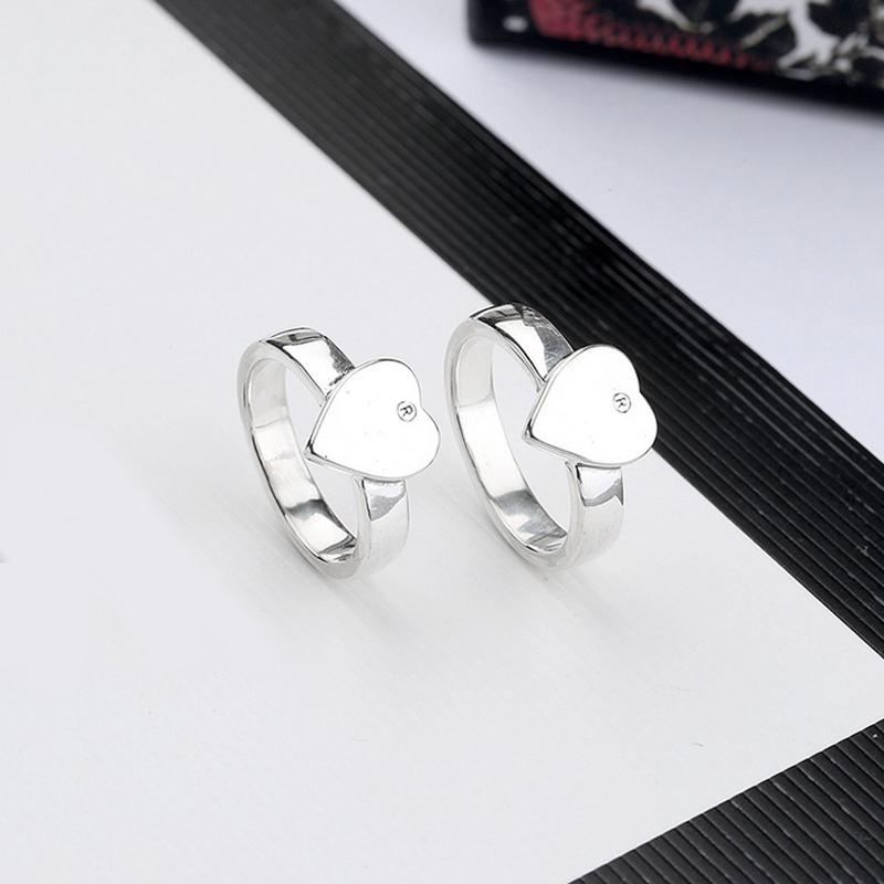 New Women Heart Finger Ring Letter Heart Ring with Stamp Fashion Jewelry Accessories Gift for Love Girlfriend