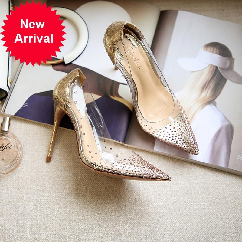 2020 New Style Baby's Breed Star Star Crystal Transparent High Tacón Tacón delgado Punta de tacones puntiagudos Todos los zapatos de un solo partido para las mujeres