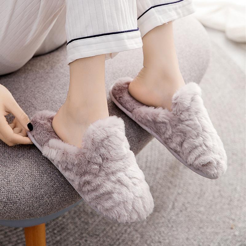 Зима Новый Сплошной шикарной Дом Женщины Тапочки Теплые плюшевые Спальня Плоские Обувь Память Пена Faux Теплые удобные тапочки