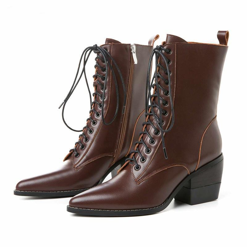Bottes Femme Nouveaux Chaussures d'hiver Bottes Femme Vache Cuir Vache Mignonnée Toe High Talons Haute Chaussures à lacets Boots à mi-veau Botas Mujer