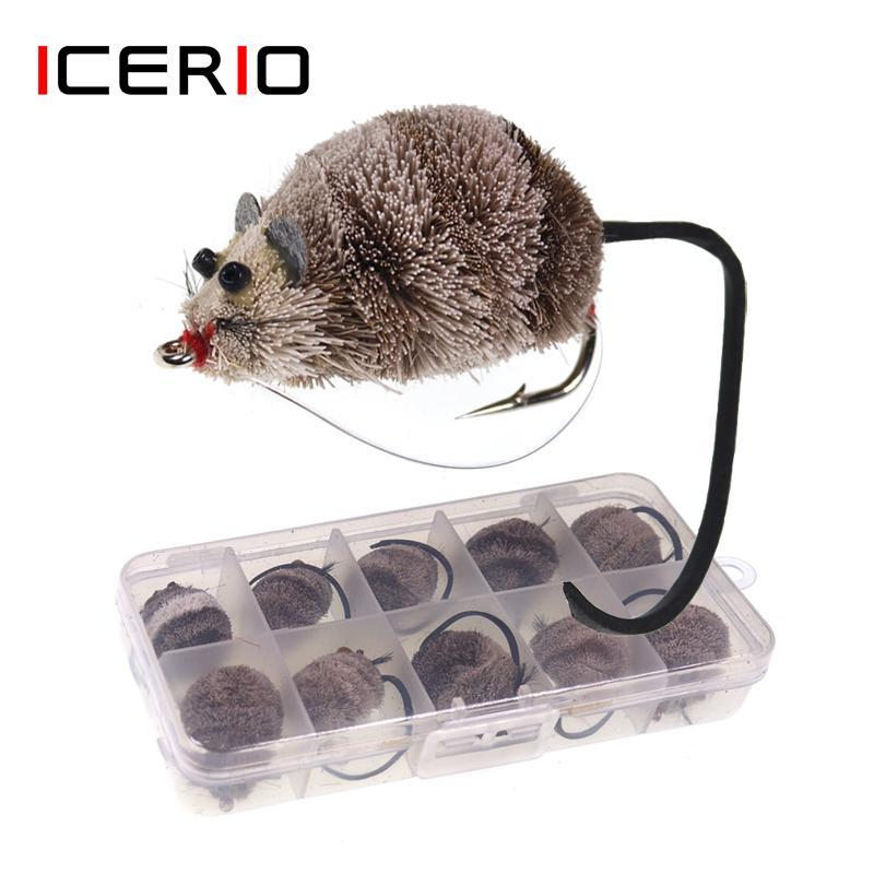 Icerio 10 قطعة / مربع يطير ربط هوك الغزلان الشعر الماوس يطير topwater السحر بوبرس تروت باس بايك الصيد يطير الطعم 201103
