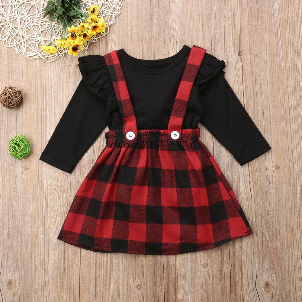 Pudcoco Girl Suits Princess Christmas Baby Girls Vestiti Abiti Autunno T-shirt invernale + Set di abiti da cinturino complessivo