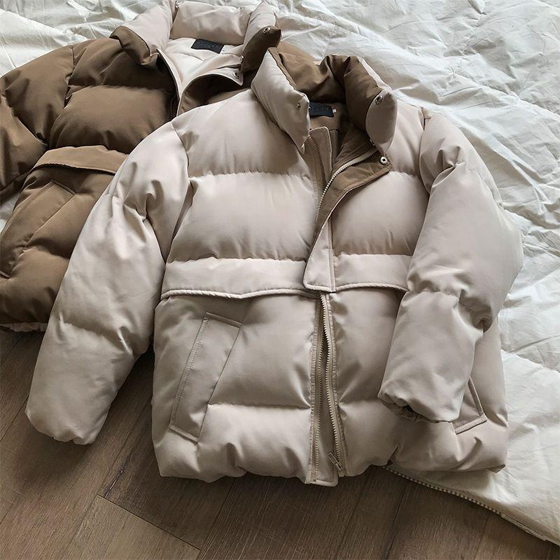 Kadınlar Kalın Kış Coat Standı Yaka Kadın Ceket Kaban Boyu Gevşek Ceket Giyim Kadın Casaco Feminino Parkas 201023