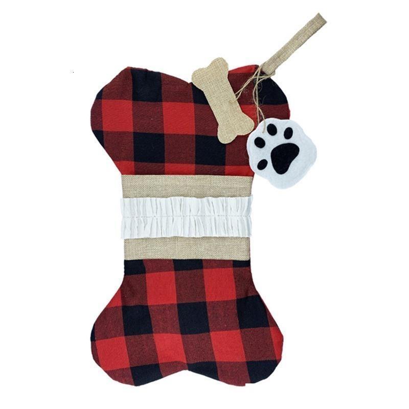 Große Leinwandgitter Bone-förmige Hund Pet Socken Weihnachten Klassische Dekoration Strumpfhaustiere Holiday Supplies SA6R