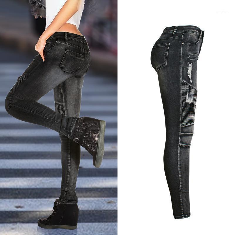 Women Streetwear Jeans America Europe Style Vintage Ripped Hole Black Patchwork Denim Pencil Pant Office Lady Skinny Trousers1