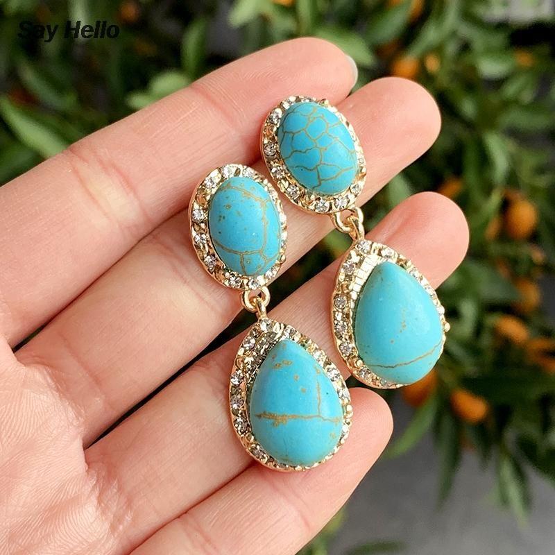 Sag Hallo Vintage Ethnische natürliche Türkisse baumeln Ohrringe Kristall Inlaidlegierung Geometrische Ohrringe Damen Schmuck K2560