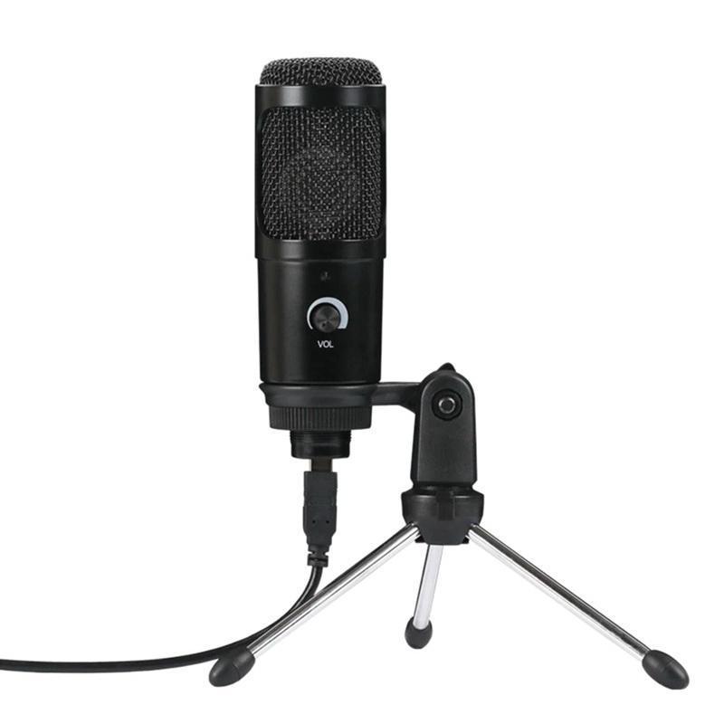 USB Plug-And-Play Конденсаторный Динамический микрофон Микрофон с мини штатив Стенд для портативных ПК игр Воспроизведение музыки Запись